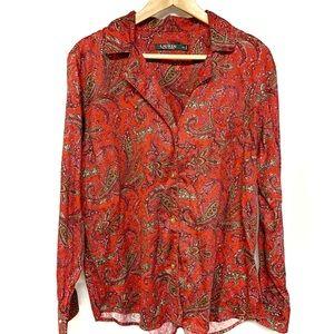 Ralph Lauren red paisley pijama top buttonfront XL
